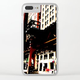 Chicago transit 'L' art print - industrial  urban photo - downtown Chicago, Illinois  Clear iPhone Case