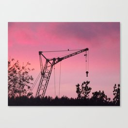 Industrial Crane and Crow Canvas Print