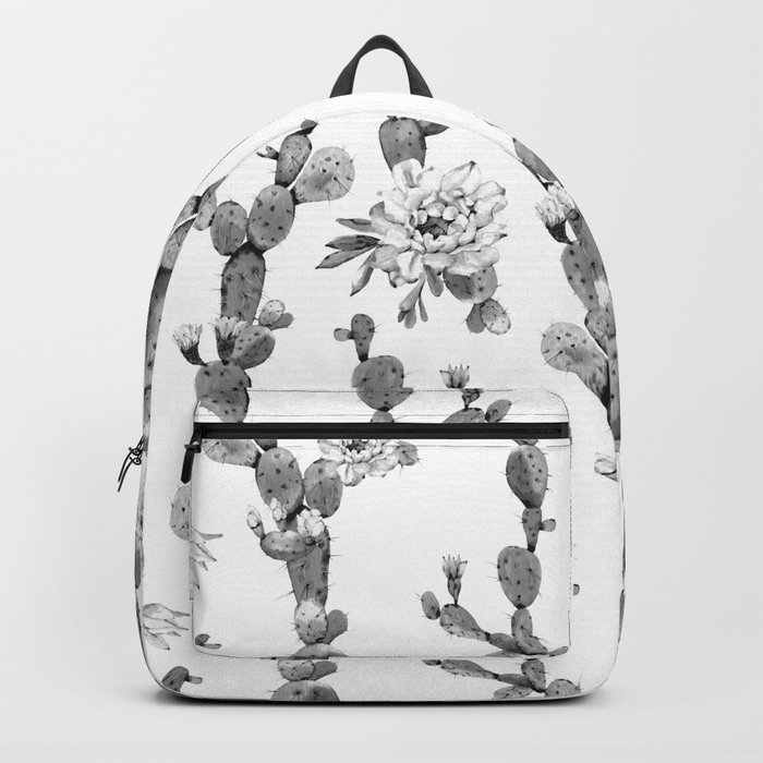Cactus Rose Garden Stripe Black and White Backpack