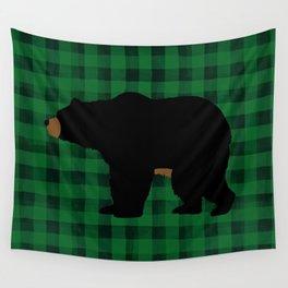 Black Bear - Green Plaid Wall Tapestry