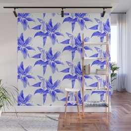 blue lily pattern Wall Mural