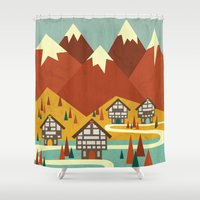 switzerland Shower Curtains featuring Switzerland by Kakel