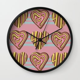 Gingerbread Love on pink Wall Clock