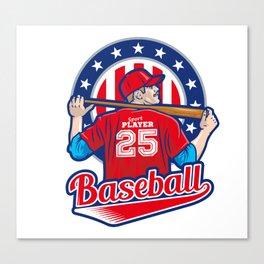 USA Baseball Player Sports Art Print Canvas Print