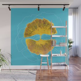 Double golden ginkgo Wall Mural