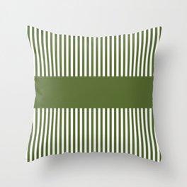 Olive Green & White Stripes Throw Pillow
