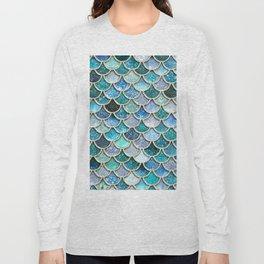 Multicolor Aqua Mermaid Scales - Beautiful Abstract Glitter Pattern Long Sleeve T-shirt