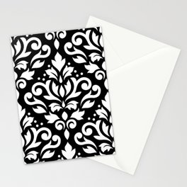 Scroll Damask Large Pattern White on Black Stationery Cards