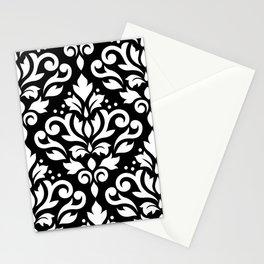 Scroll Damask Large Pattern White on Black Stationery Cards