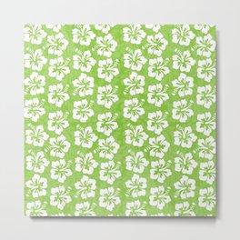 White Hibiscus on Green Metal Print