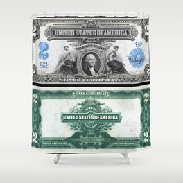 1899 U.S. Federal Reserve Two Dollar Bank Note Silver Certificate Shower Curtain
