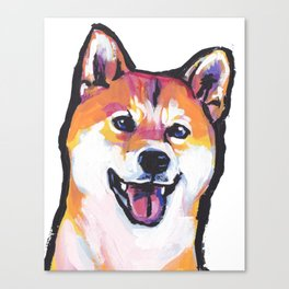 Shiba Inu Fun Dog Portrait bright colorful Pop Art Paintng by LEA Canvas Print
