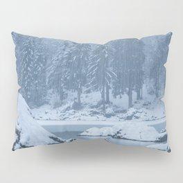 Heavy snow fall lake Fusine, Italy Pillow Sham