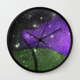 Purple Starry Eyed Dog Wall Clock