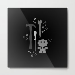 Techie Tools - black and grey Metal Print