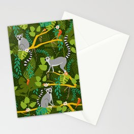 Lemurs in a Green Jungle Stationery Cards