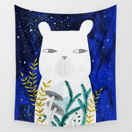 polar bear with botanical illustration in blue Wall Tapestry