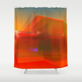 red glass and a lilac reflection Shower Curtain
