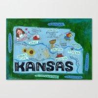 kansas city Canvas Prints featuring KANSAS by Christiane Engel