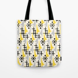 Mid Century Modern Atomic Wing Composition Yellow & Grey Tote Bag