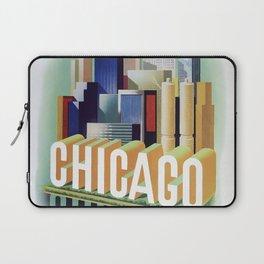 Vintage travel poster  - Chicago Laptop Sleeve