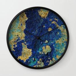 Indigo Teal and Gold Ocean Wall Clock