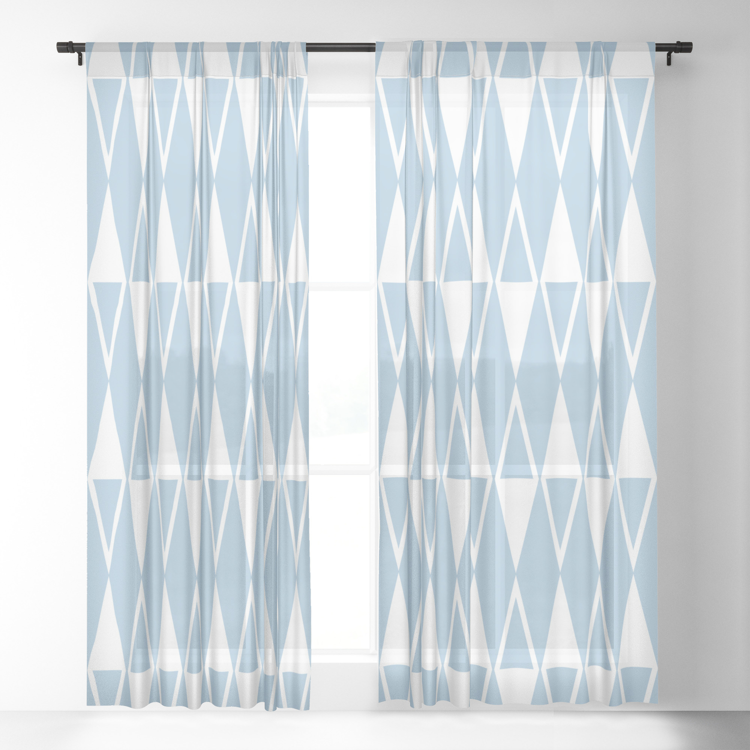 Picture of: Mid Century Modern Diamond Pattern Pale Blue 234 Sheer Curtain By Tonymagner Society6