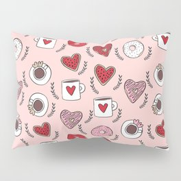 Valentines donuts and coffee cute gifts for love valentine andrea lauren Pillow Sham