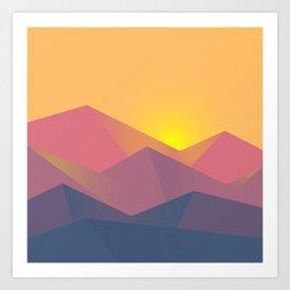 Sunset Mountains Polygons Art Print