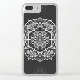 dark gray bw grey mandala pattern design Clear iPhone Case