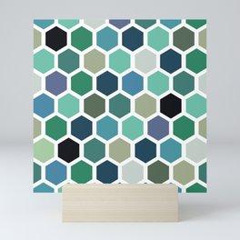 Green and blue honeycomb pattern Mini Art Print