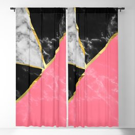 Marble color collection geometric abstract design Blackout Curtain
