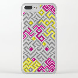 Yellow and Pink Geometric Labyrinth Background Clear iPhone Case