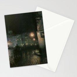Market Square of Warsaw by night józef pankiewicz Stationery Cards