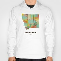 montana Hoodies featuring Montana state map modern by bri.buckley