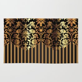 Gold and Black Damask and Stripe Design Rug