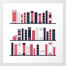 Shelves of Books Stylized Art Print