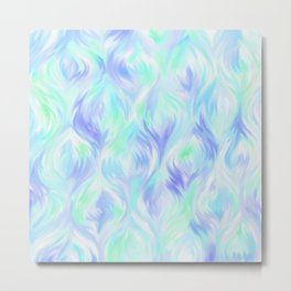 Preppy Blue Watercolor Abstract Ripples Metal Print
