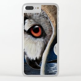 Eagle Owl - The Watcher - by LiliFlore Clear iPhone Case