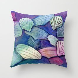 Sea Shell Watercolor Mixed Media Art Throw Pillow