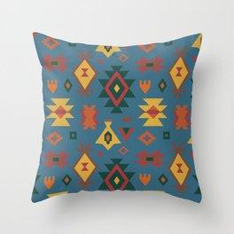 Autumn Kilim No. 1 in Teal Throw Pillow
