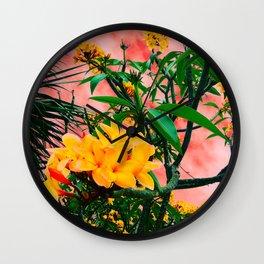 Plumeria in Storm Wall Clock