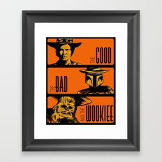 The Good, the bad and the wookiee Framed Art Print