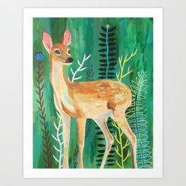 Painted Deer by June Jewell Art Print