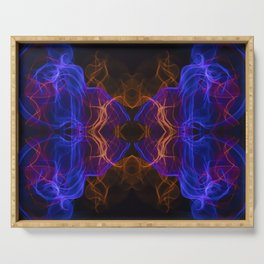 Abstract and symmetrical texture in the form of colorful smoke clouds. Serving Tray