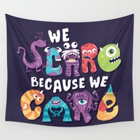 risa rodil Wall Tapestries featuring We Scare Because We Care by Risa Rodil