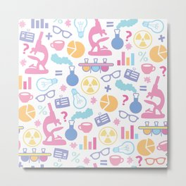 Pastel Science Pattern Metal Print