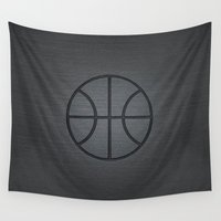 basketball Wall Tapestries featuring BASKETBALL- basketball by Raisya