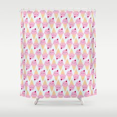 Kawaii Ice Cream Cones Shower Curtain
