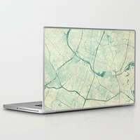 austin Laptop & iPad Skins featuring Austin Map Blue Vintage by City Art Posters